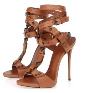 Sandales gladiateur à talons hauts pour femmes, chaussures à lanières et bouts ouverts, bride circulaire croisée à la cheville, sexy et solide, été
