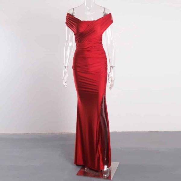 Robe de soirée longue, rouge foncé, extensible, sans manches, plissée, épaules dénudées, fente latérale 5