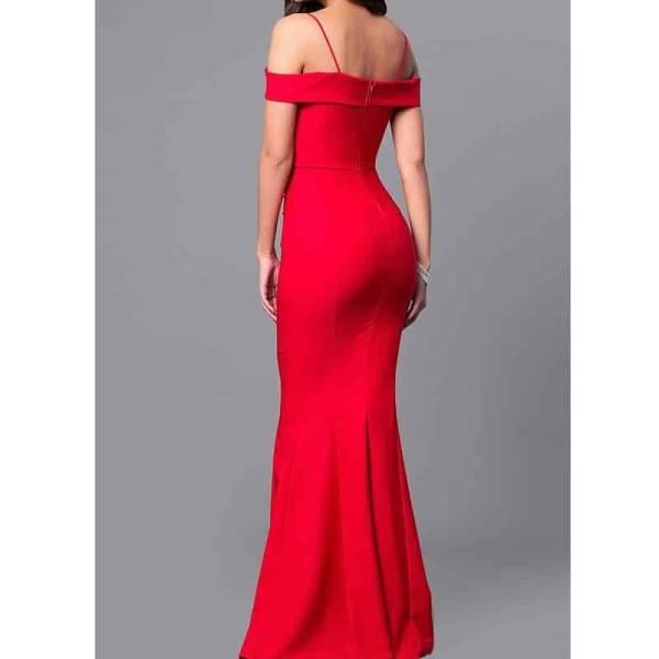 Robe longue sirène, col bateau, épaules dénudées, moulante, rouge, robe de soirée 6