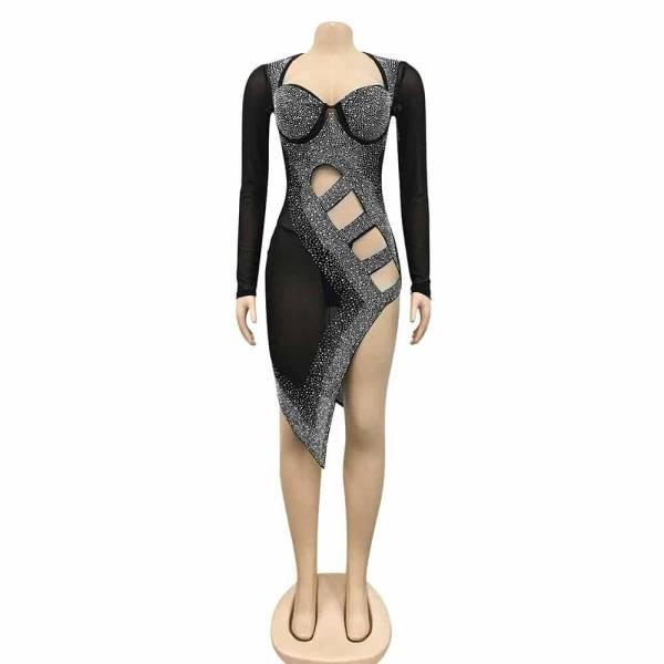 Mini robe Sexy à manches longues pour femme, tenue de soirée moulante, fendue sur le côté, couleur noir, diamant, cristal