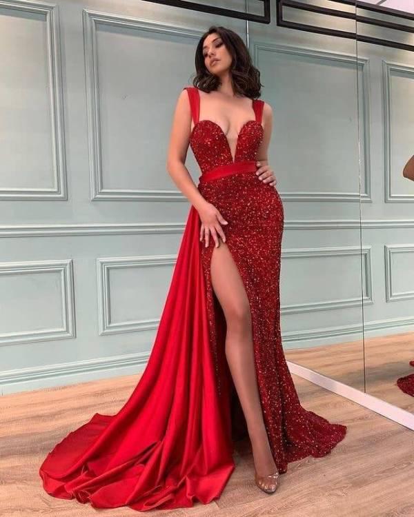 Robe de soirée longue fendue, rouge, à paillettes, à la mode, Style princesse