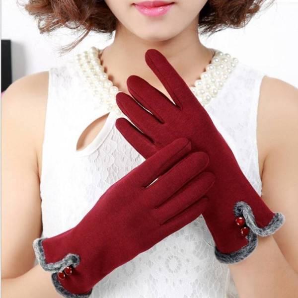 Gants d'hiver chauds en velours coton pour femmes 4