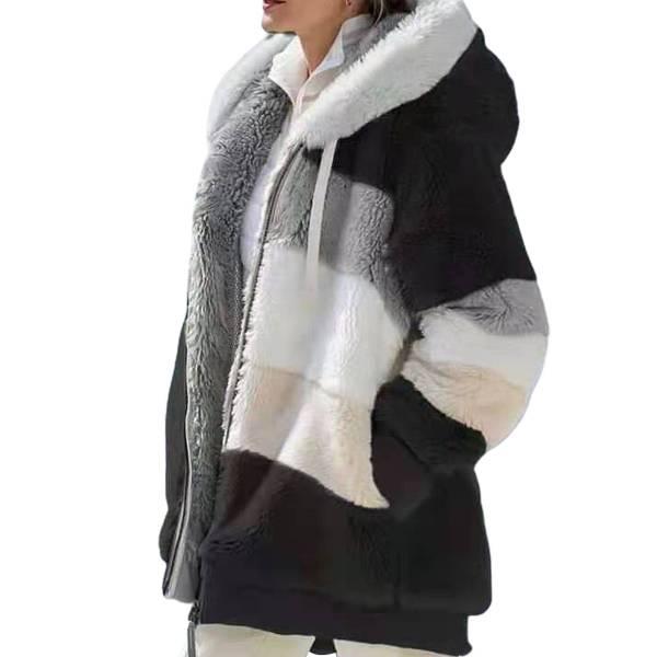Veste peluche capuche chaude à manches longues 9