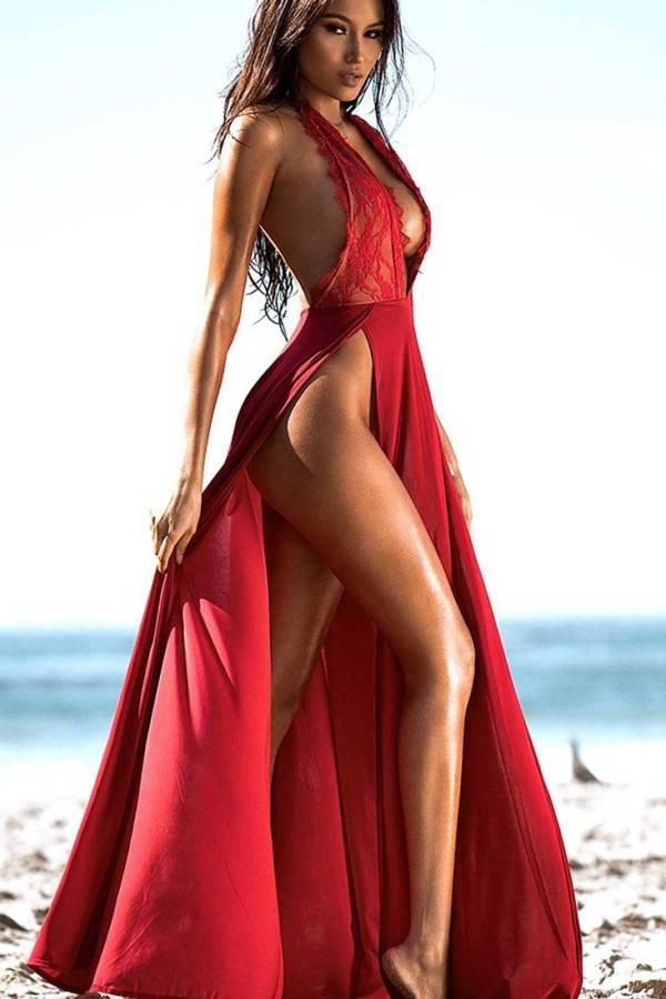 Chemise de nuit longue rouge Sexy pour femmes 8
