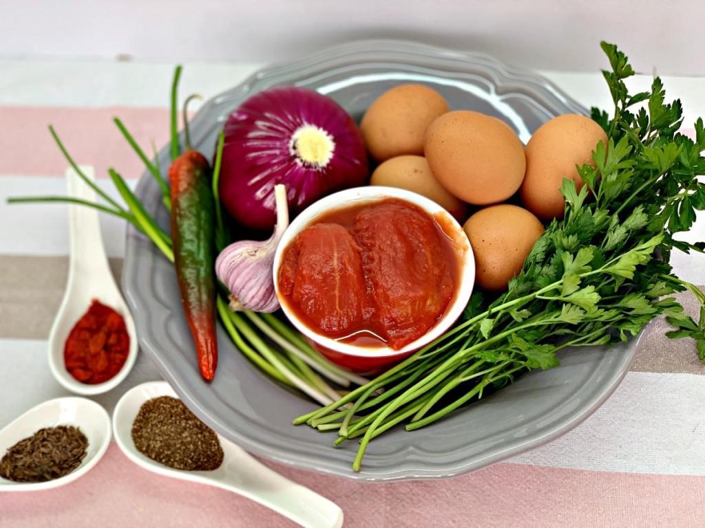 Shakshuka ingredients and herbs