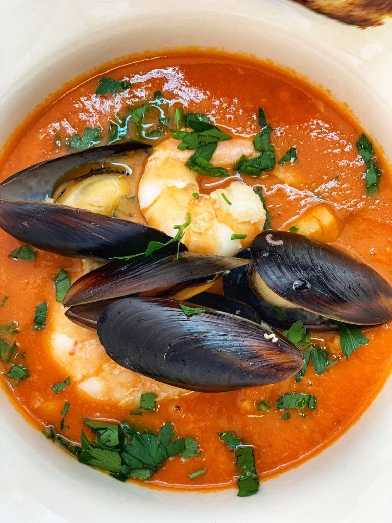 grilled shrimp in soup