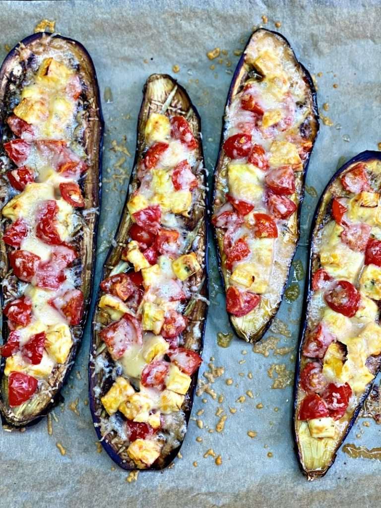 Baked eggplant with brie cheese, parmesan, and tomatoes