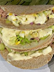 Canned Tuna Avocado Tacos with dressing