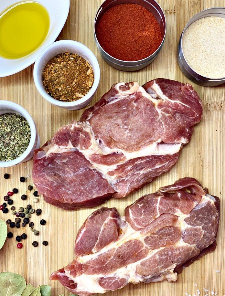 ingredients for marinated steak pork