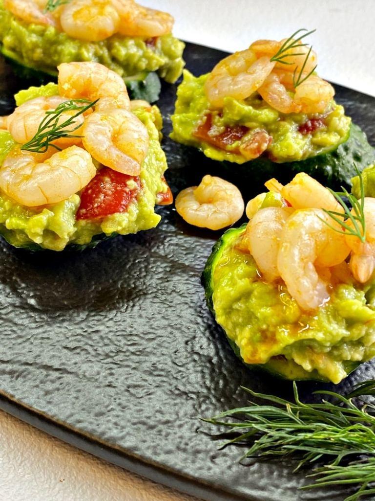Garlic shrimp and avocado appetizer