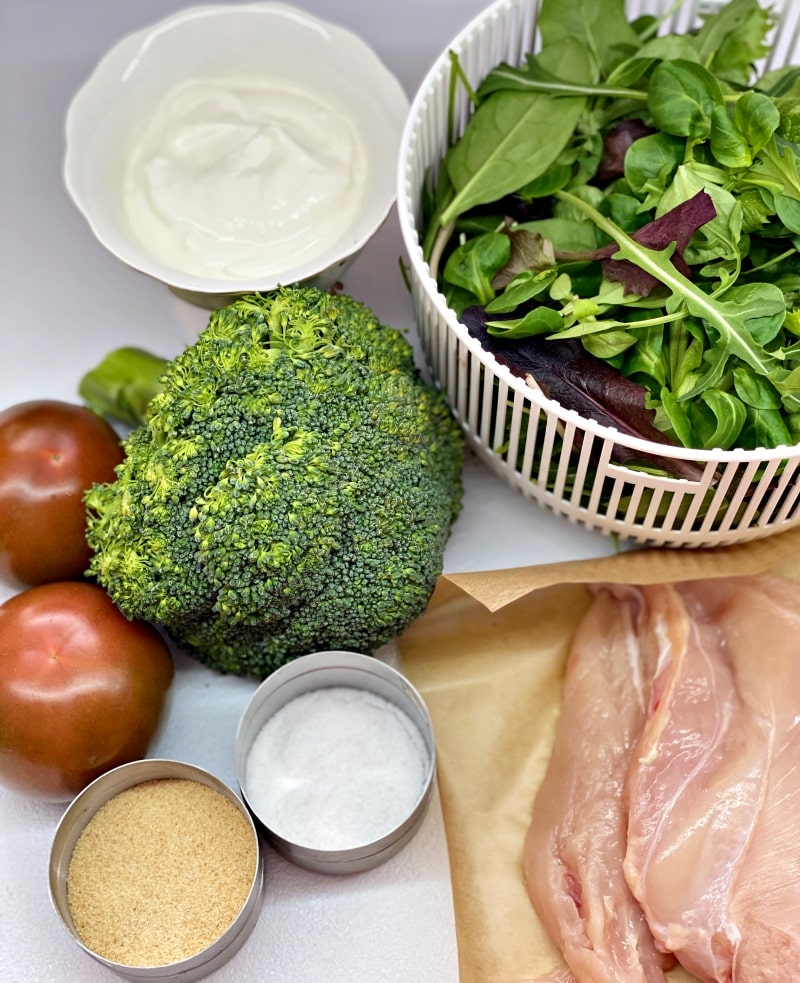 ingredients for the creamy chicken broccoli salad