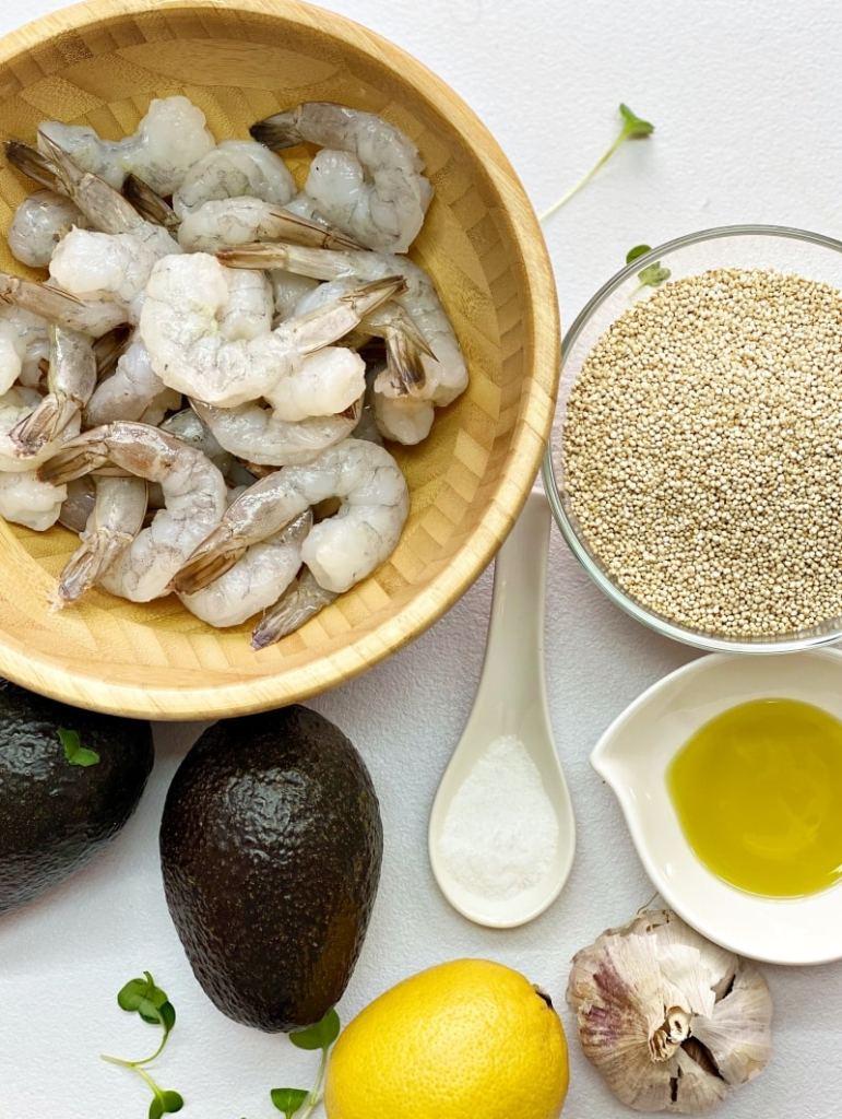 Shrimp avocado and quinoa ingredients