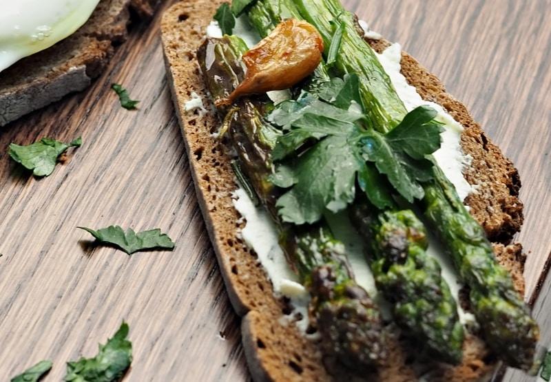 Asparagus & Eggs on Toast for Breakfast