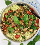 Creamy Pasta Mushrooms Spinach and Tomatoes