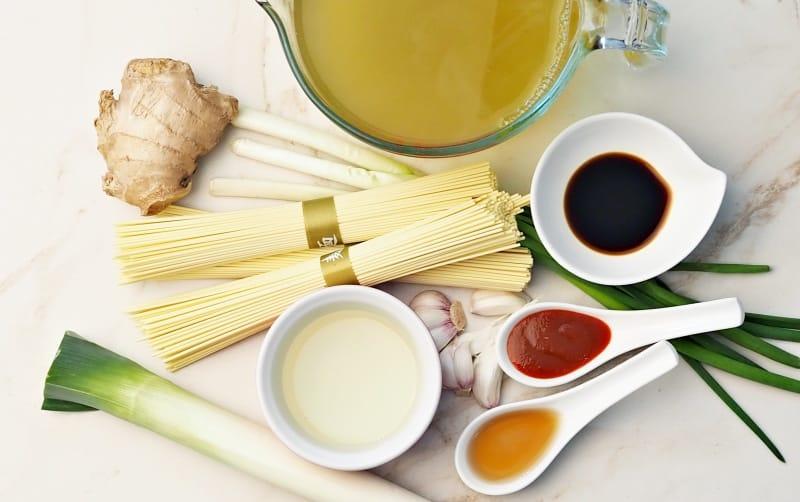 Ingredients for ramen soup