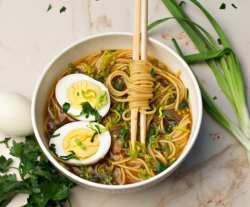 bowl with ramen soup