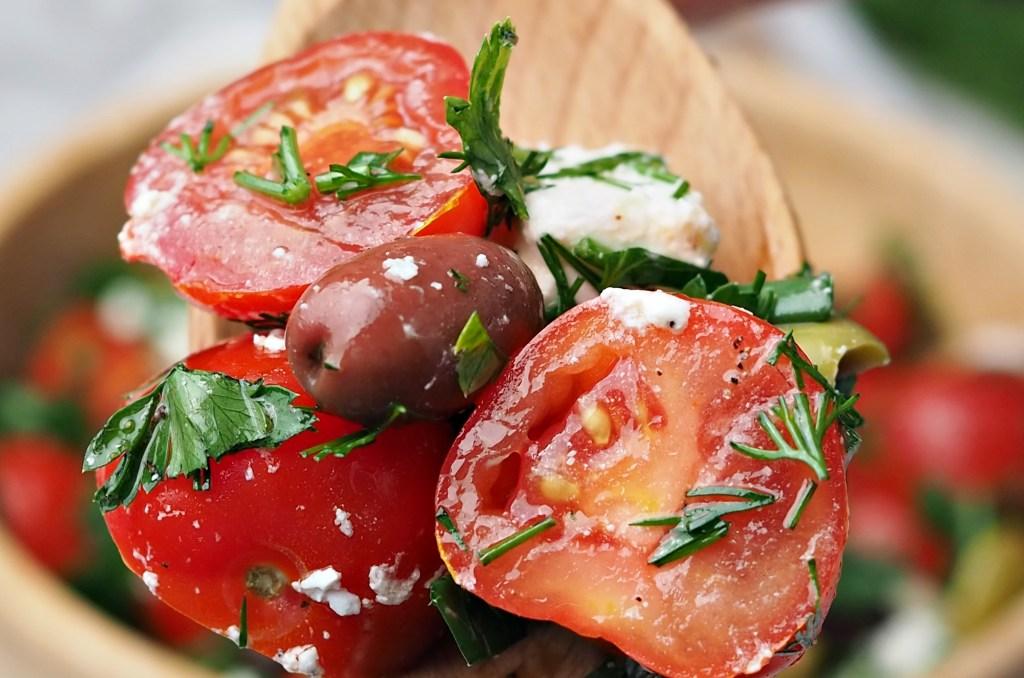 Colorful Tomato Feta & Olives Salad