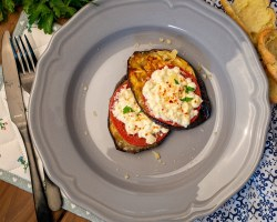 Baked Eggplant with Tomatoes and Cheese