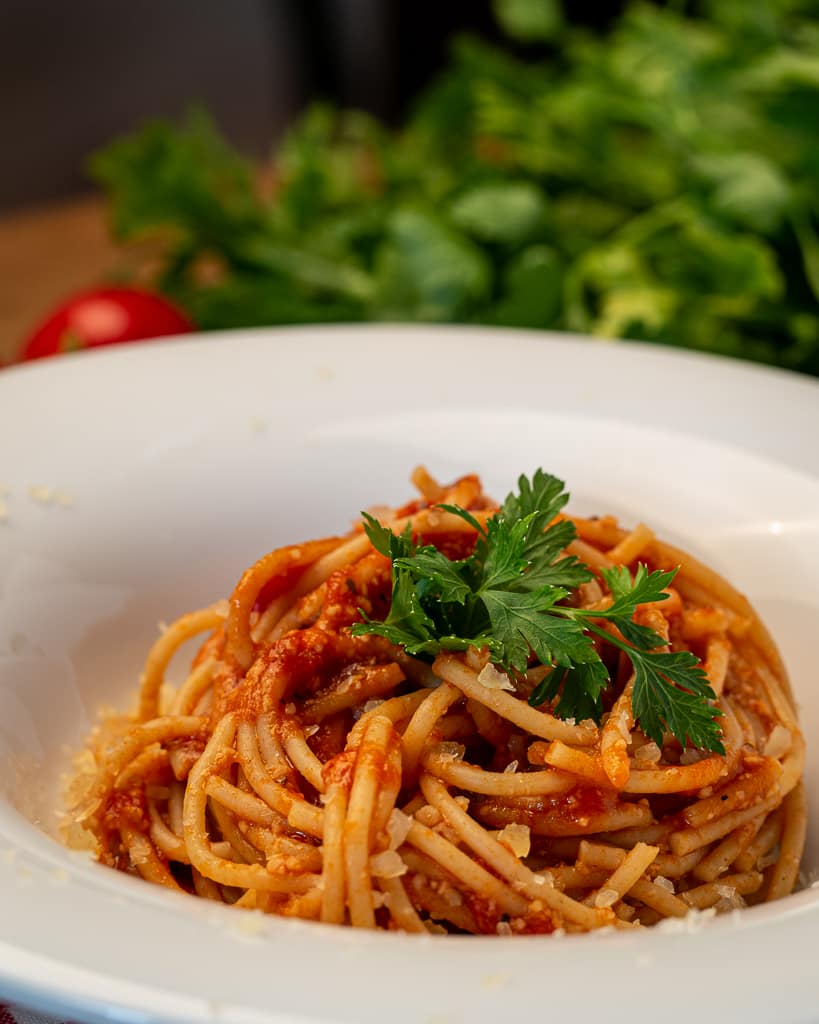 tomato sauce spaghetti with parmesan
