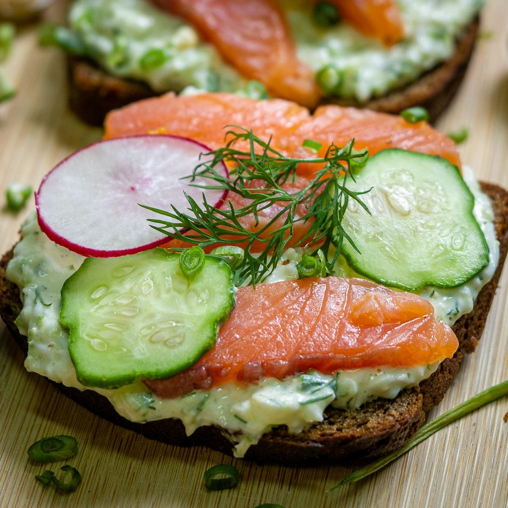 Danish Smørrebrød With Salmon