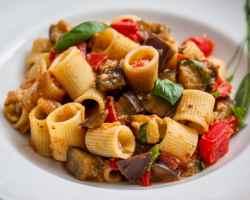 plate with aubergine pasta