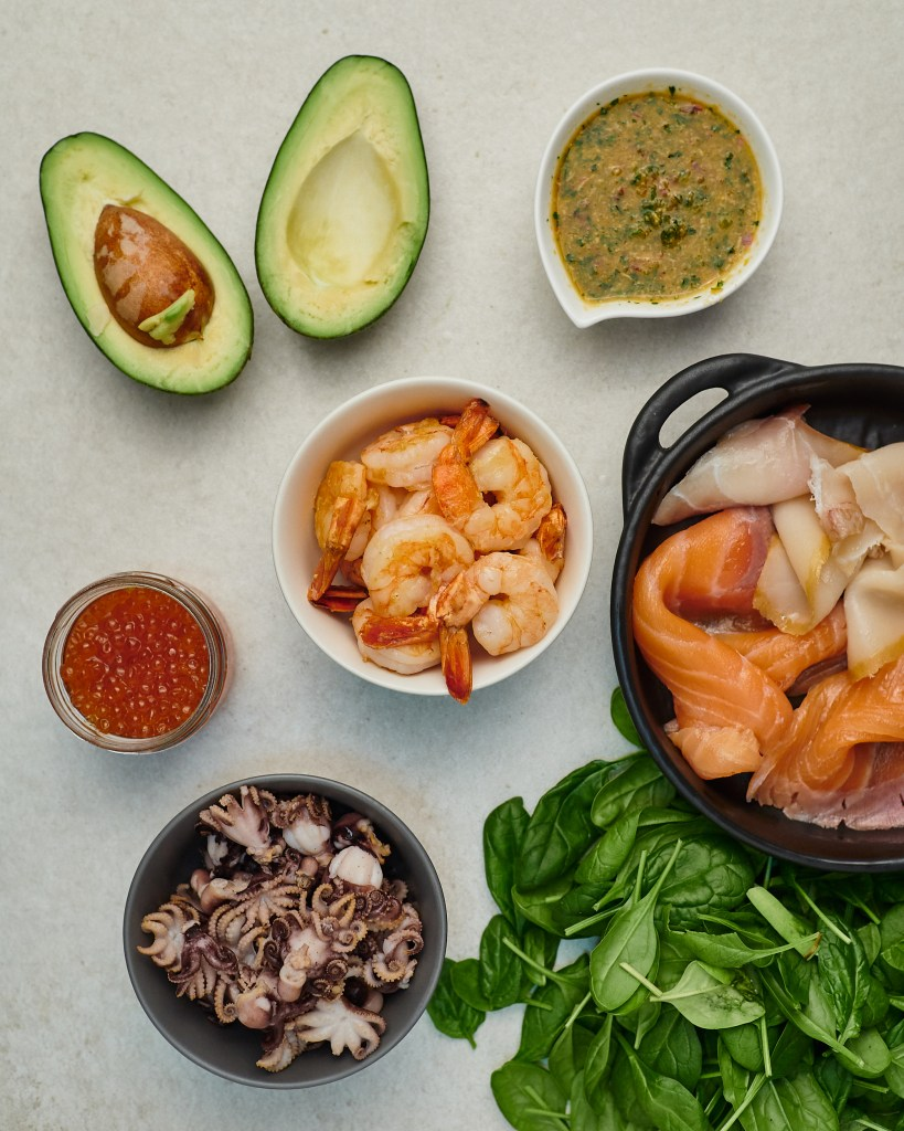 Citrus Seafood Salad with Avocado Ingredients