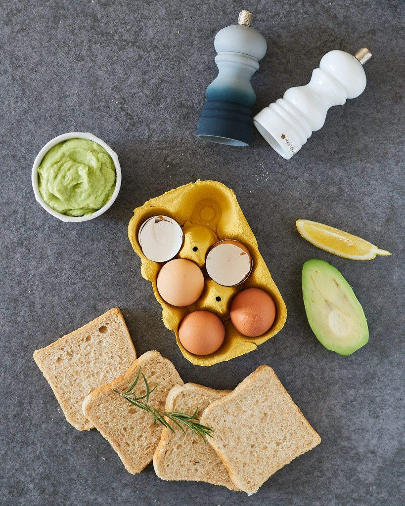 Baked eggs with avocado Hollandaise sauce ingredients