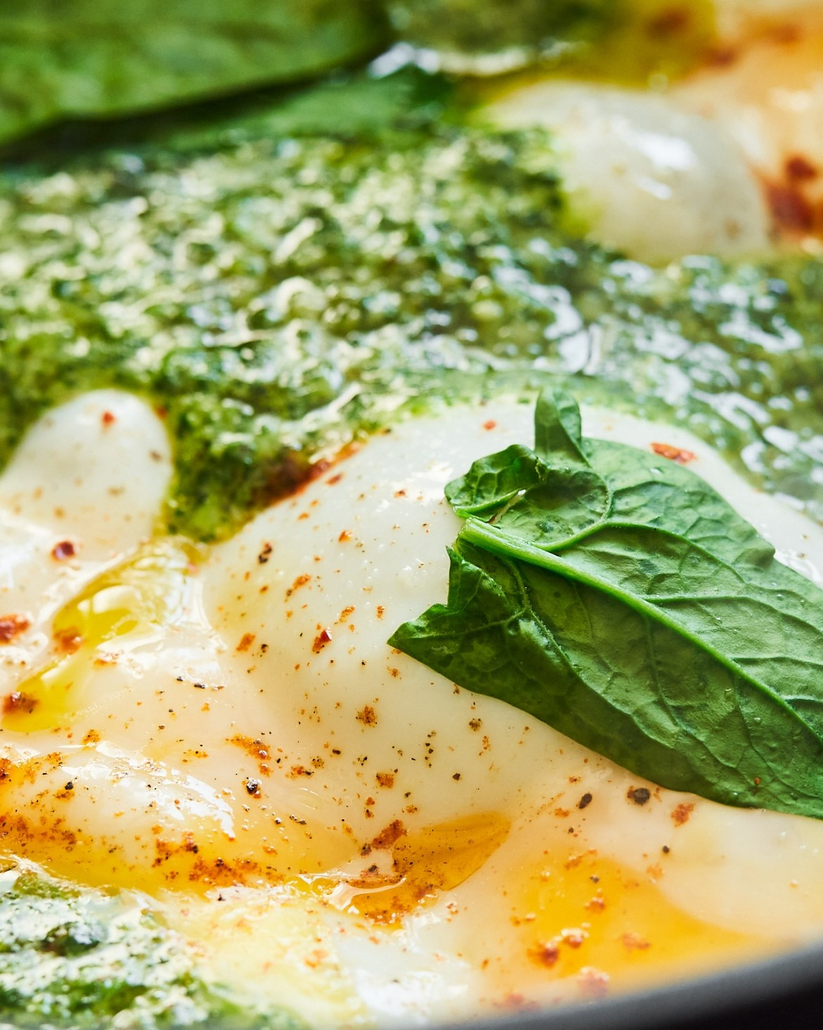 chimichurri sauce with fried eggs
