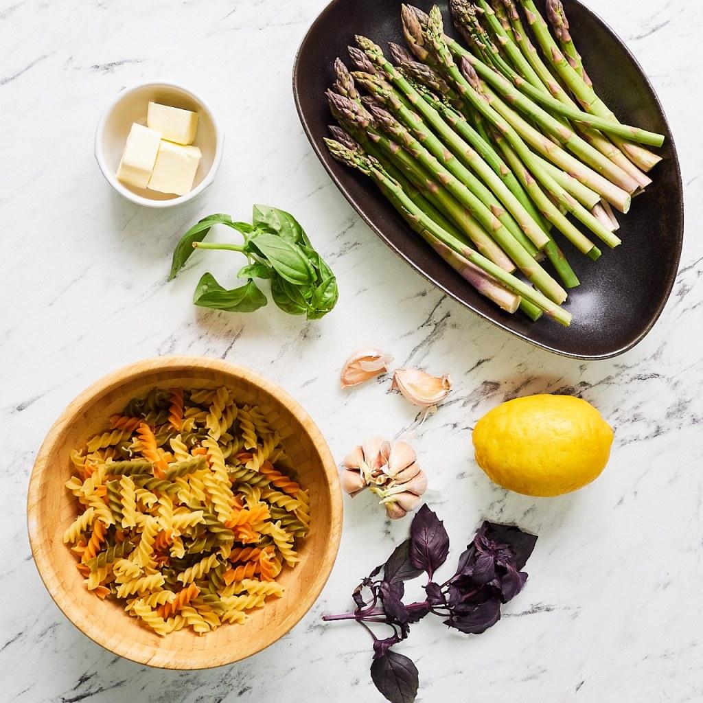 Lemon Garlic Asparagus Pasta Ingredients