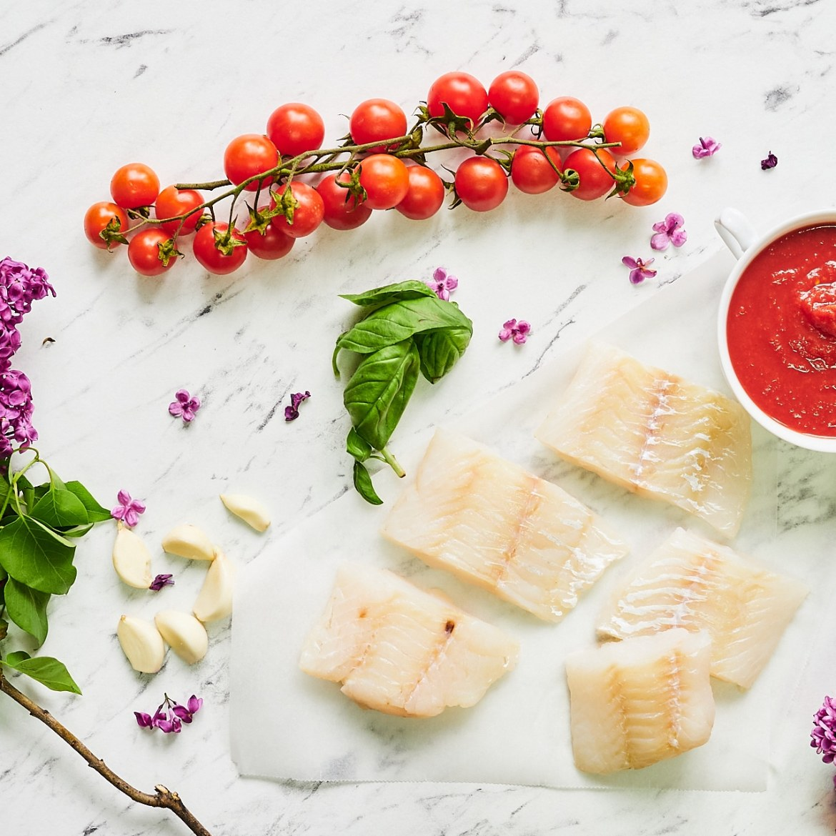 ingredients cod fillets tomato sauce