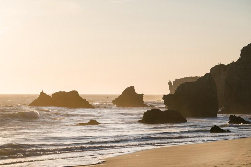 Por do sol em El Matador State Beach, em Los Angeles