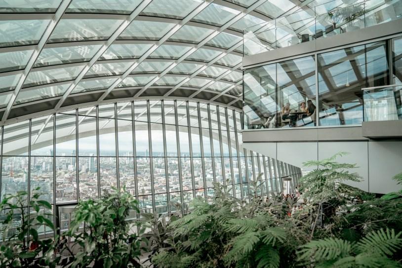 Dica de viagem em Londres: vista panoramica no jardim do Sky Garden
