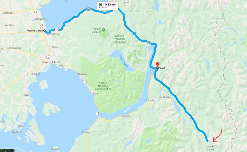 Mapa da estrada de Puerto Varas até Llanada Grande, nas região dos lagos do Chile