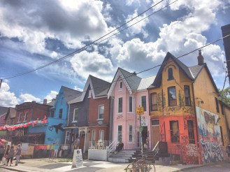 Kesingston Market : Colored Houses in the street Toronto