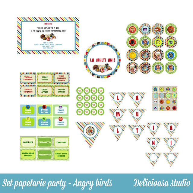 set papetarie party Angry birds - Delicioasa studio