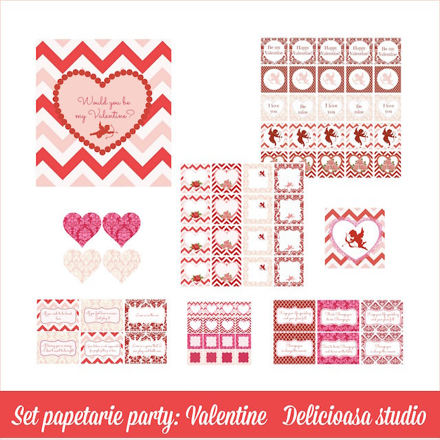 set papetarie party Valentine  - Delicioasa studio