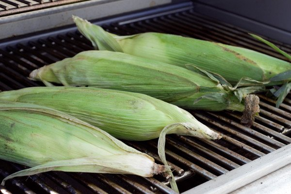 Fresh corn rinsed and soaked for 20 minutes.