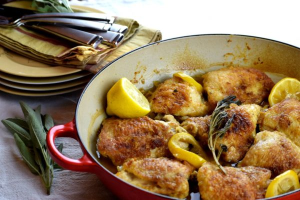 Lemon Sage Chicken Thighs in a savory butter sauce.