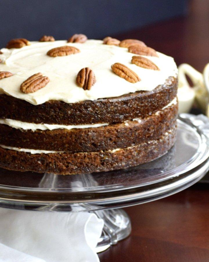 carrot cake on pedestal