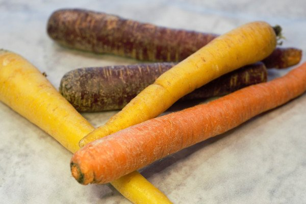 Rainbow carrots, because the store didn't have orange ones.