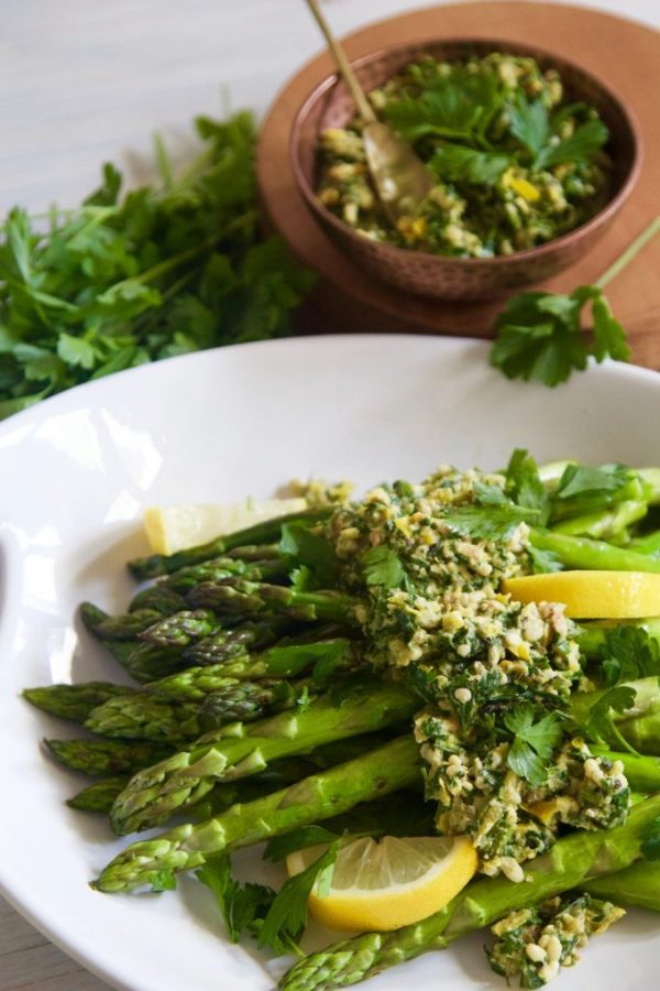 Top your asparagus with a beautiful gremolata to take it to the next level.