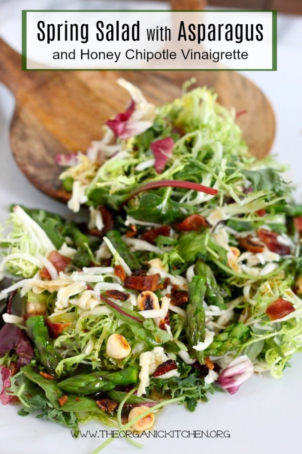 Spring greens, crispy pancetta, and asparagus make a light and flavorful salad.