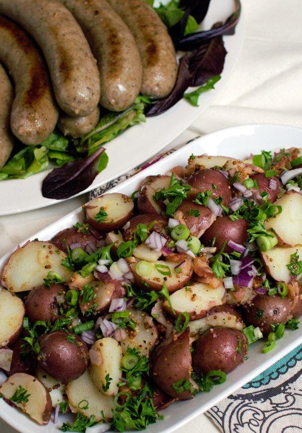 Warm German Potato salad served along side of artisan made bratwurst.