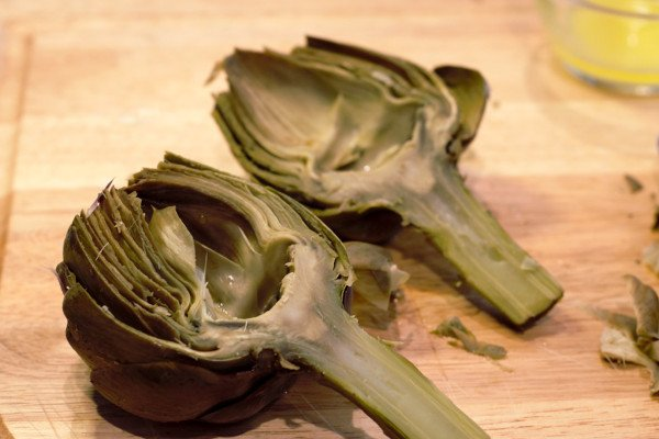 Fully cleaned artichokes ready for Parmesan Stuffing.