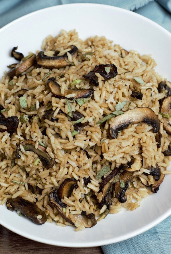 large bowl of mushroom rice