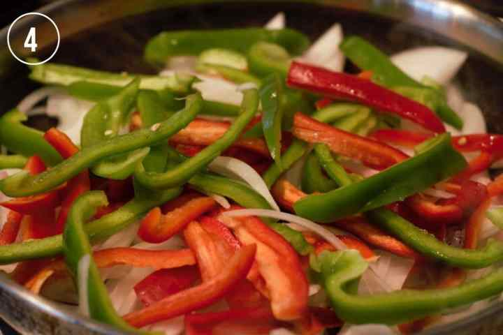Sliced vegetables in pan