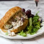 close up waldorf croissant sandwich for featured image