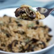 fork full of mushroom rice up close