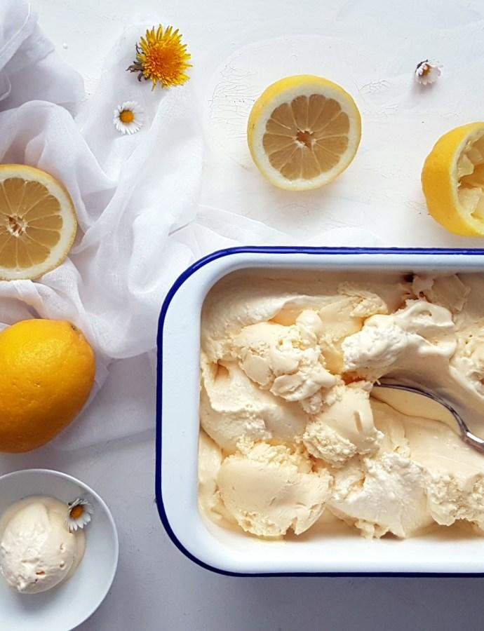 Zitronig gut- Lemon- Curd Ice Cream aus der Eismaschine