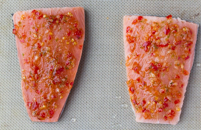Salmon Fillets with Sweet Chili Sauce on a Pan